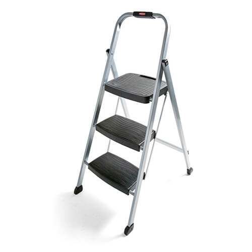 Rubbermaid RM-3W Folding 3-Step Steel Frame Stool with Hand Grip and Plastic Steps, 200-Pound Capacity, Silver Finish