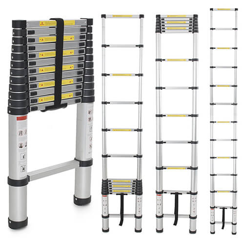 Generic EN131 Std. 12.5Ft Aluminum Telescopic Tel escoping Ladder Extension Exte nd Loft