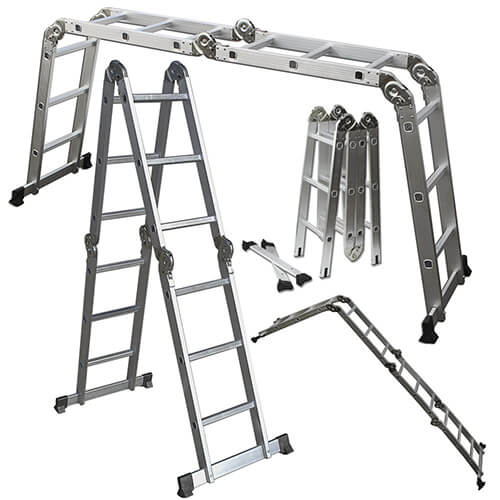 OxGord Aluminum Folding Scaffold Multi-Purpose Ladder 12.5-Feet
