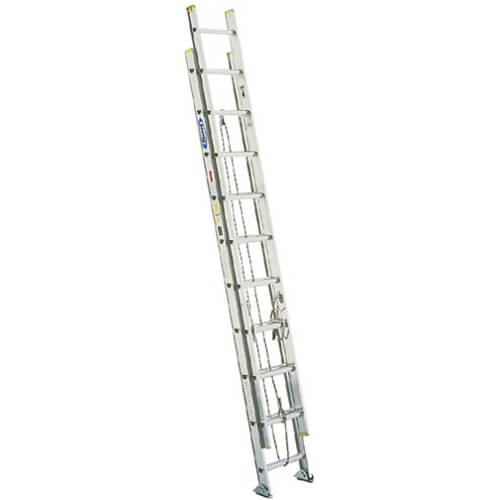 Werner D1224-2 225-Pound Duty Rating Aluminum Flat D-Rung Extension Ladder, 24-Foot